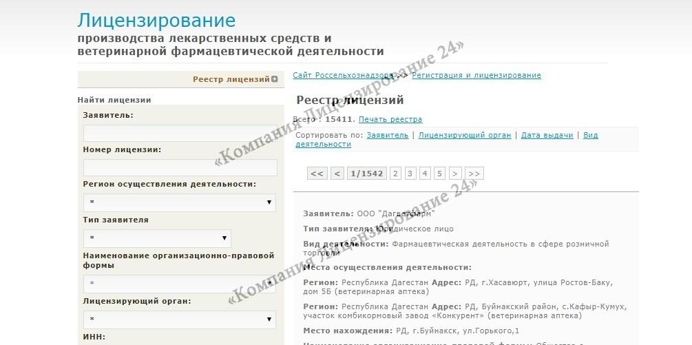 Ветеринарная лицензия проверка