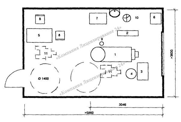 Требующийся метраж кабинета стоматолога (схема)